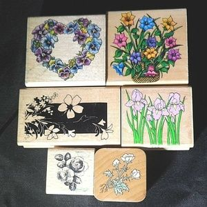 Rubber Stamps Flowers Floral All Occasion Lot of 6